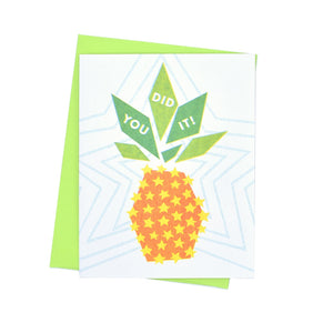 """You Did It"" Pineapple - Risograph Greeting Card by Kapo Ng - Next Chapter Studio"