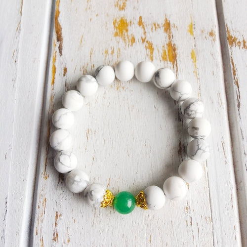 I Am Peaceful & Lucky ~ Genuine White Howlite &