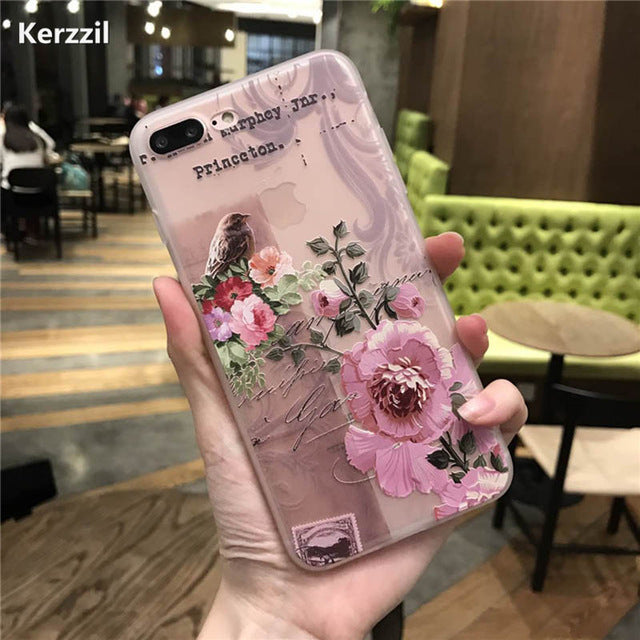 Peach Roses  Phone Case For iPhone 7 6 6S Plus Soft TPU Back Cover Cases For iPhone X 6 6S 8 Plus