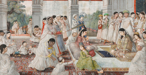 A Mughal court dressed in Chikankari fabrics. Credit: Sundari Silks