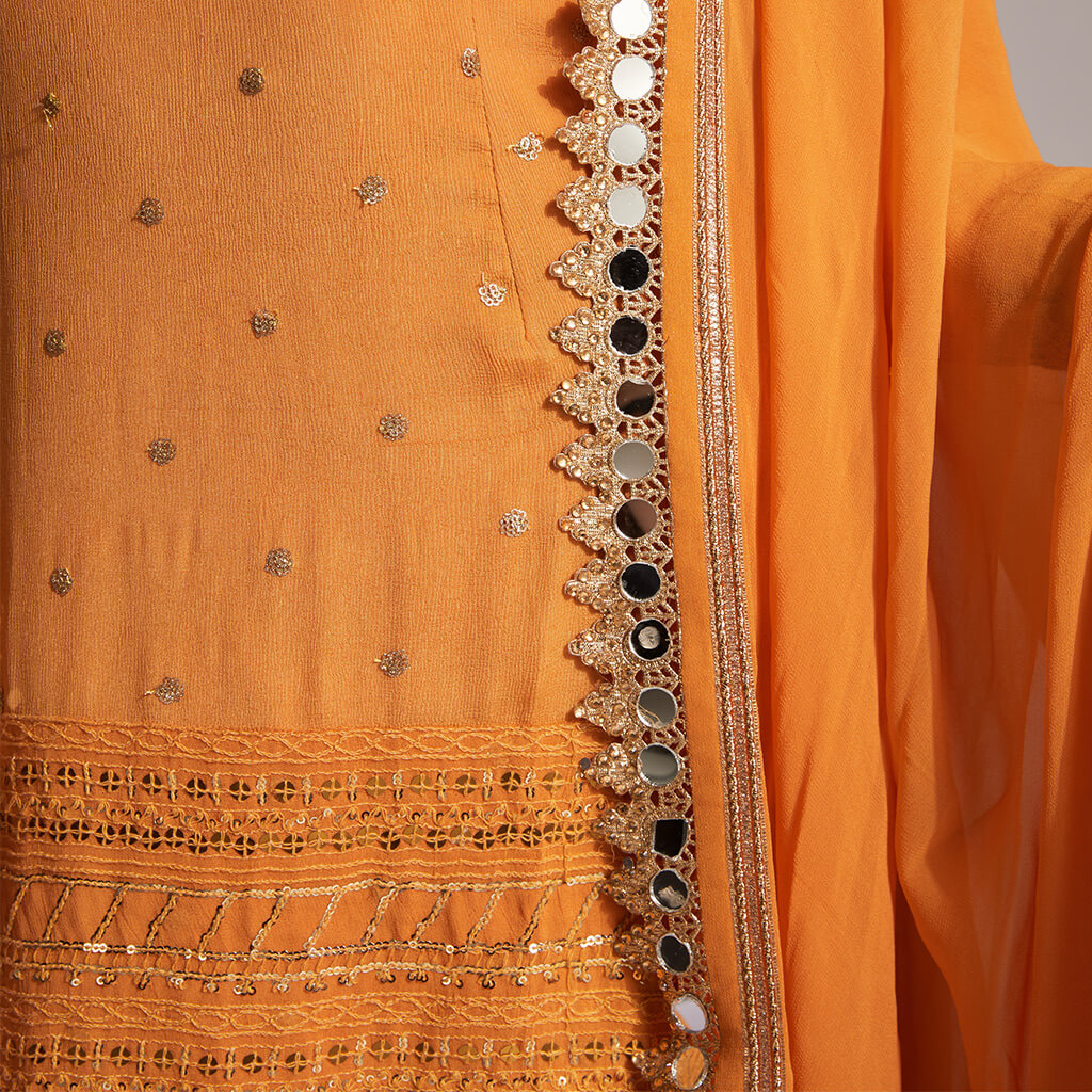 Orange palazzo with dupatta