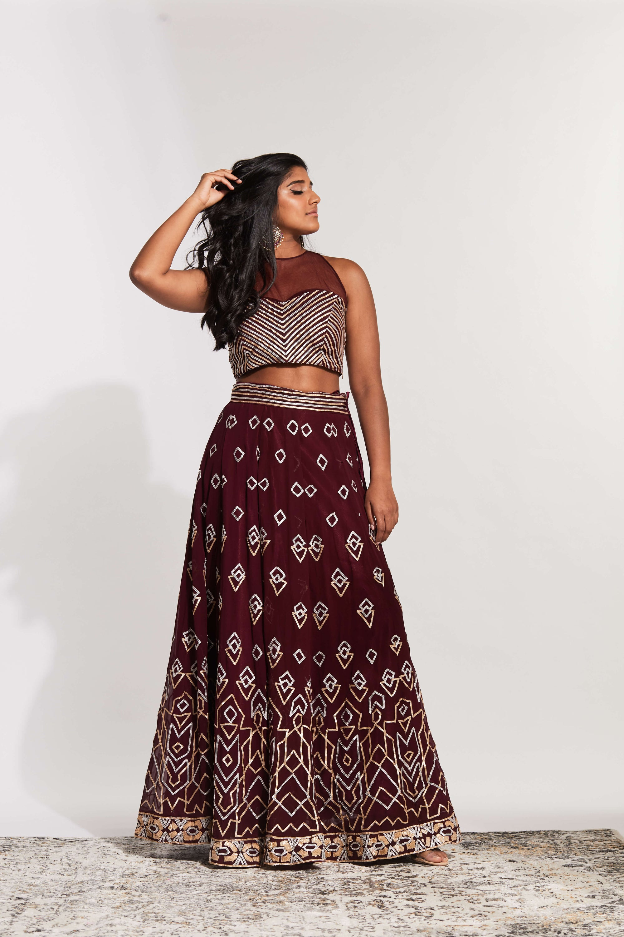 Burgundy lehenga with gota work