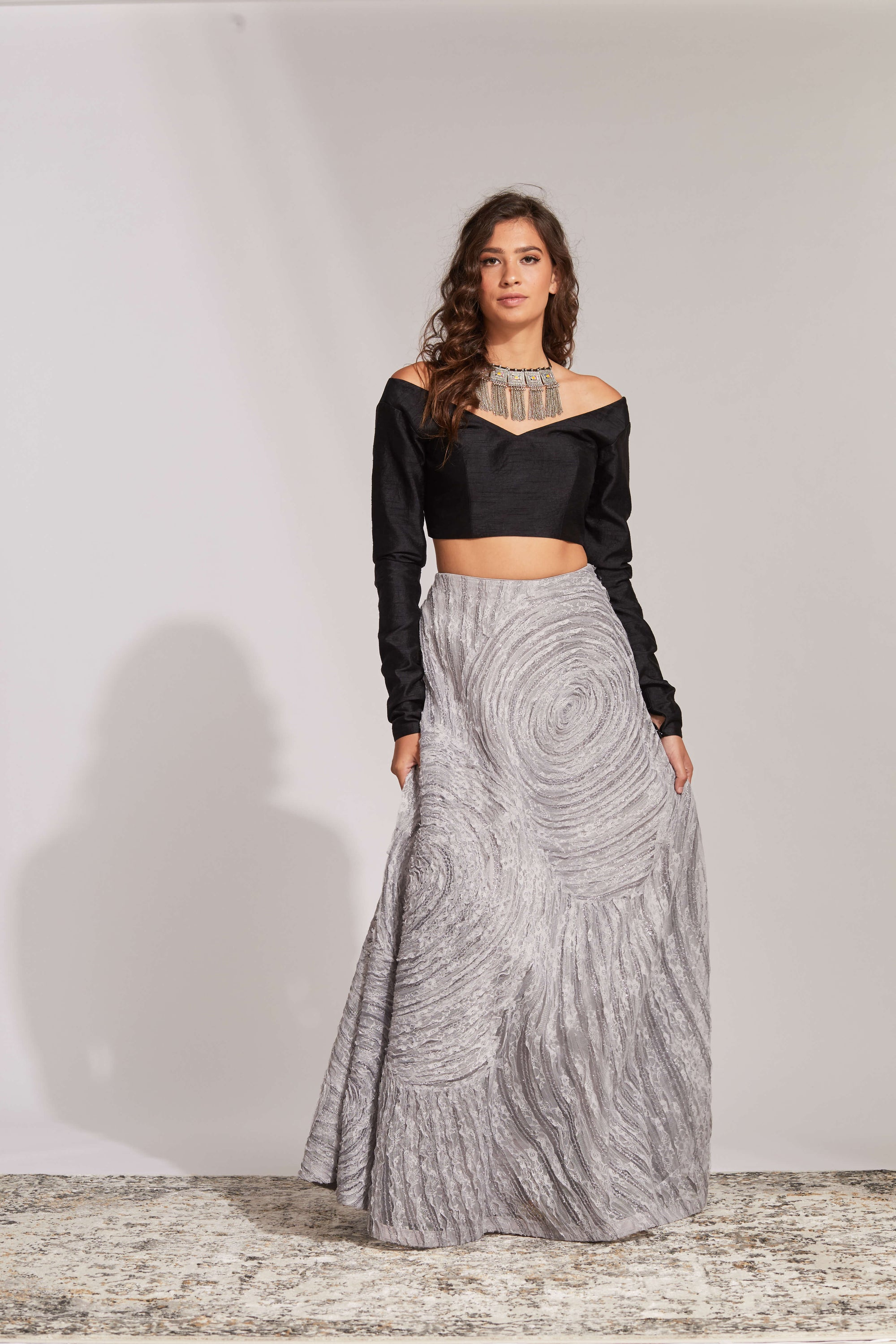 Black raw silk blouse with silver swirl skirt