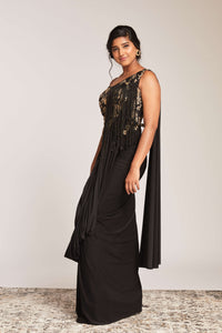 Black lycra dress with tassels and gold embroidery