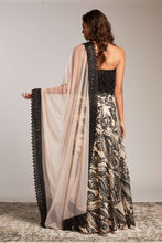 Black tassel blouse with cream and black sequin skirt, lehenga