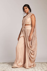 One shoulder drape palazzo saree look