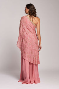 Palazzos with one shoulder drape