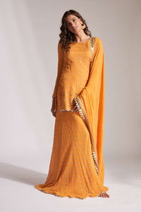 Orange  palazzo pant with orange kurta top and dupatta