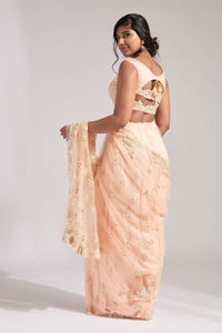 Blush net saree with embroidery