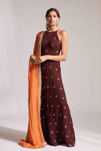 Burgundy anarkali with pockets and dupatta