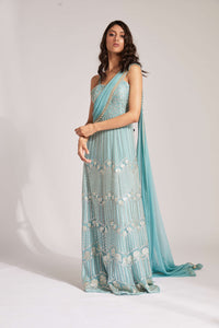 Turquoise metallic anarkali with attached drape