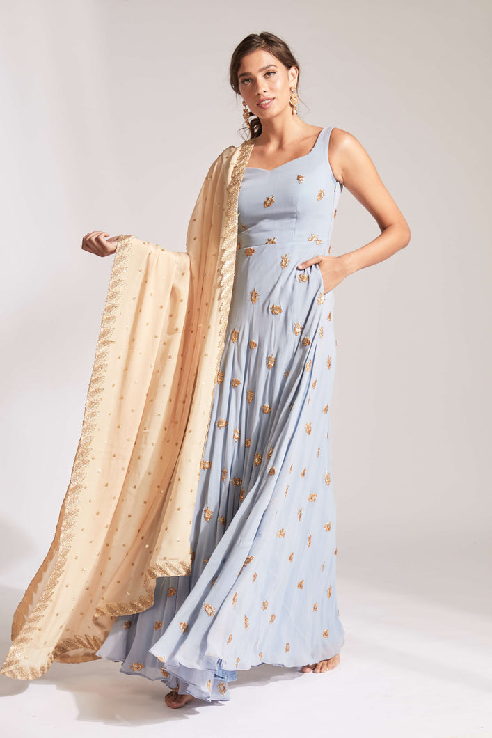 Dusty blue anarkali with cream contrast dupatta