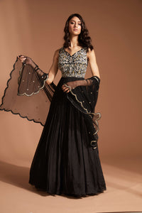 Black hand embroidered anarkali with net dupatta