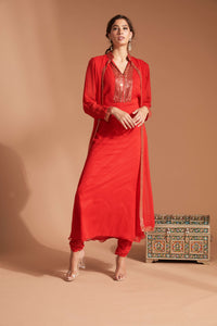 Red georgette churidhar outfit with gold beading