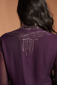 Purple palazzo pant outfit with long kurta top and subtle beading at the color, back, and wrist