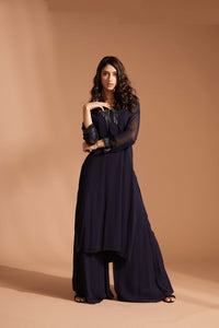Navy blue palazzo pant outfit with long kurta top and subtle beading at the color, back, and wrist