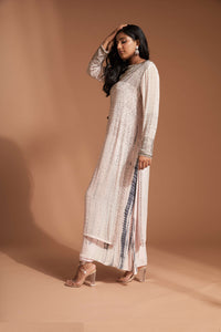 Pink sequin long sleeve kurta top with tie dye flowy pants