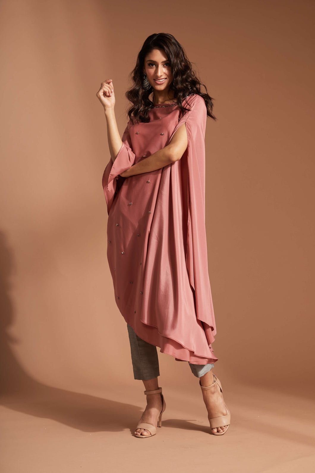 Pink boat neck flowy blouse with contrast cigarette pants