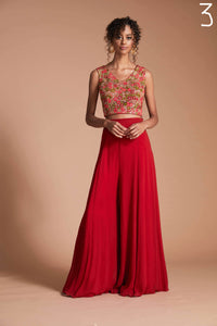 Palazzo set with floral blouse and georgette palazzo pants and dupatta