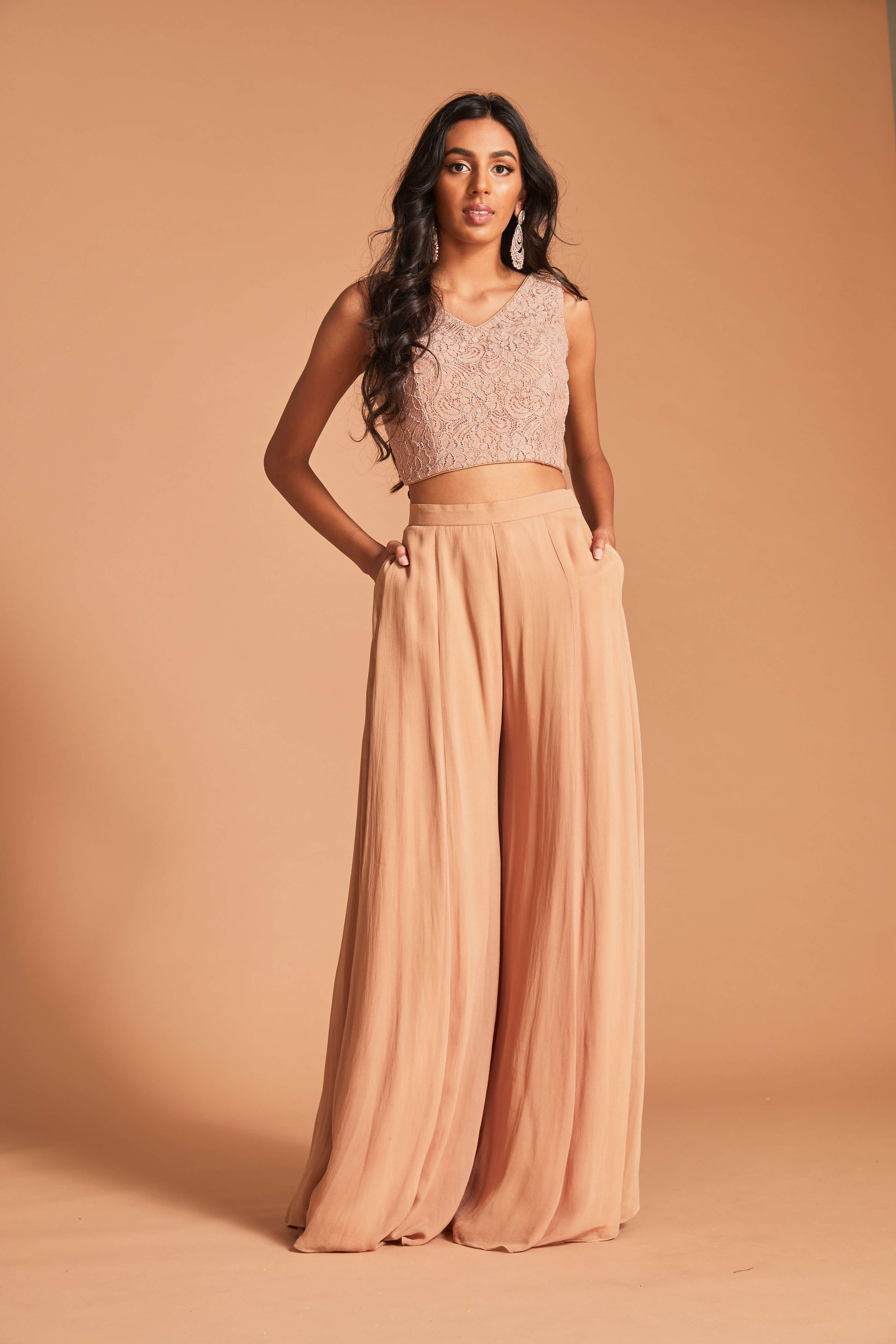 Palazzo set with floral lace blouse and georgette palazzo pants and dupatta