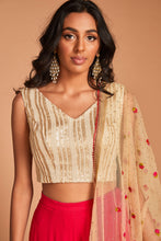 Palazzo set with cream sequin blouse and georgette palazzo pant with dupatta