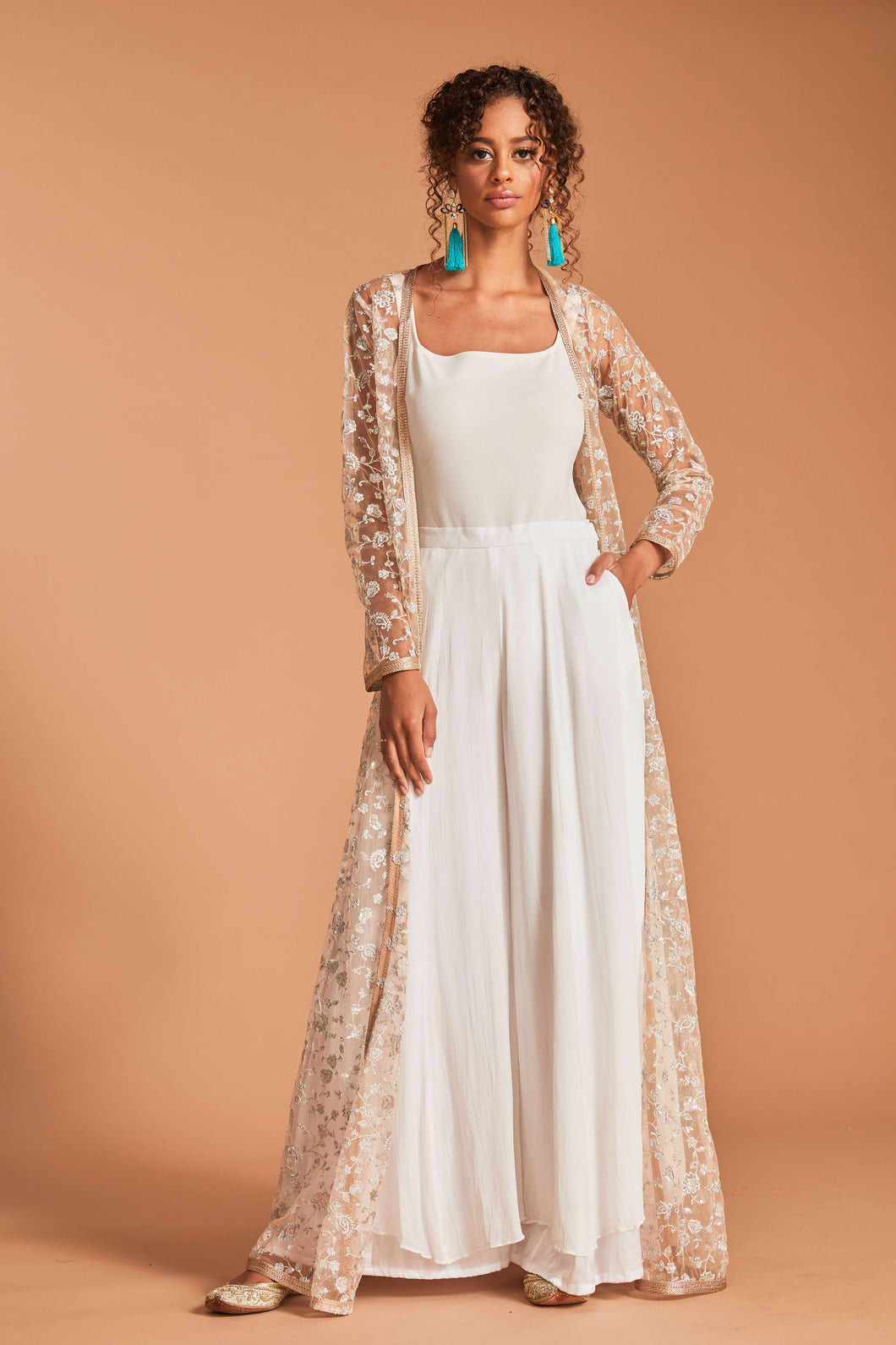 Nude pink cape with silver embroidery and palazzo pants