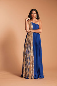 Cobalt blue one shoulder anarkali with attached gold net draping/dupatta