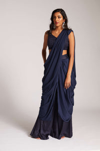 Navy drape palazzo outfit with pockets