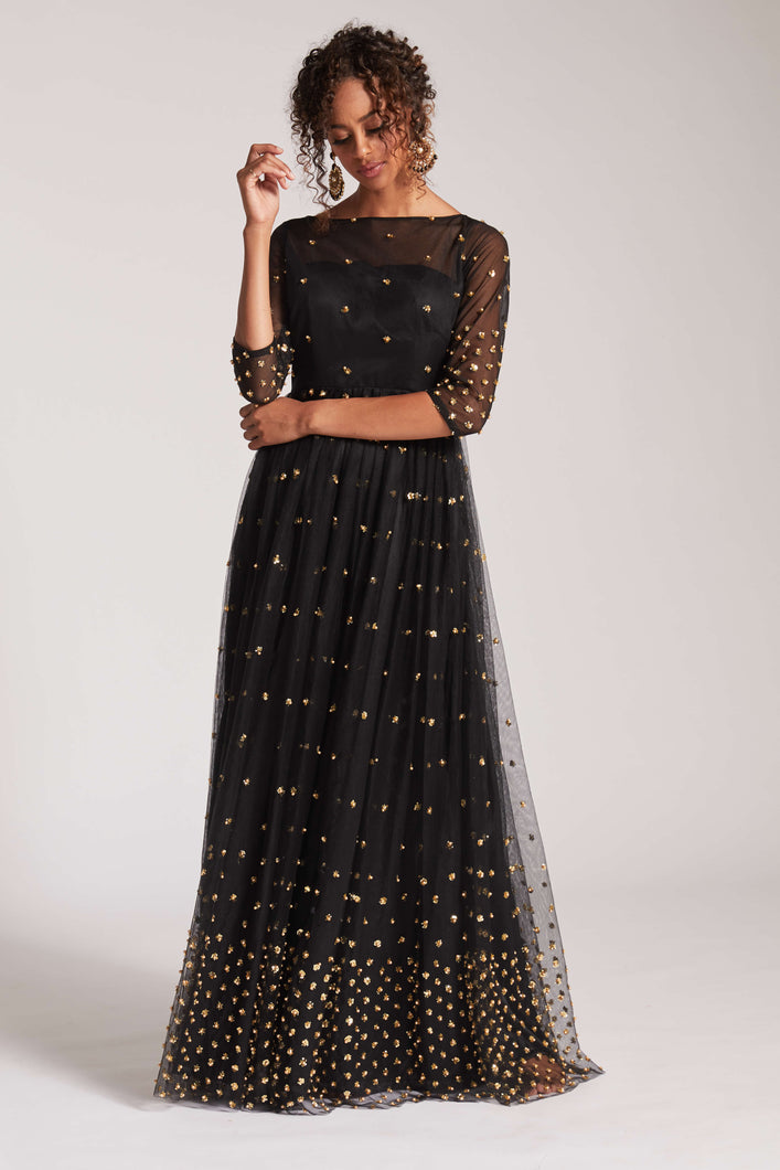 Black anarkali with sequin and bead detailing with dupatta