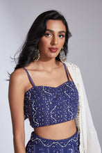 Lucknowi/chikankari blue lehenga with cutdana highlights and scallop dupatta