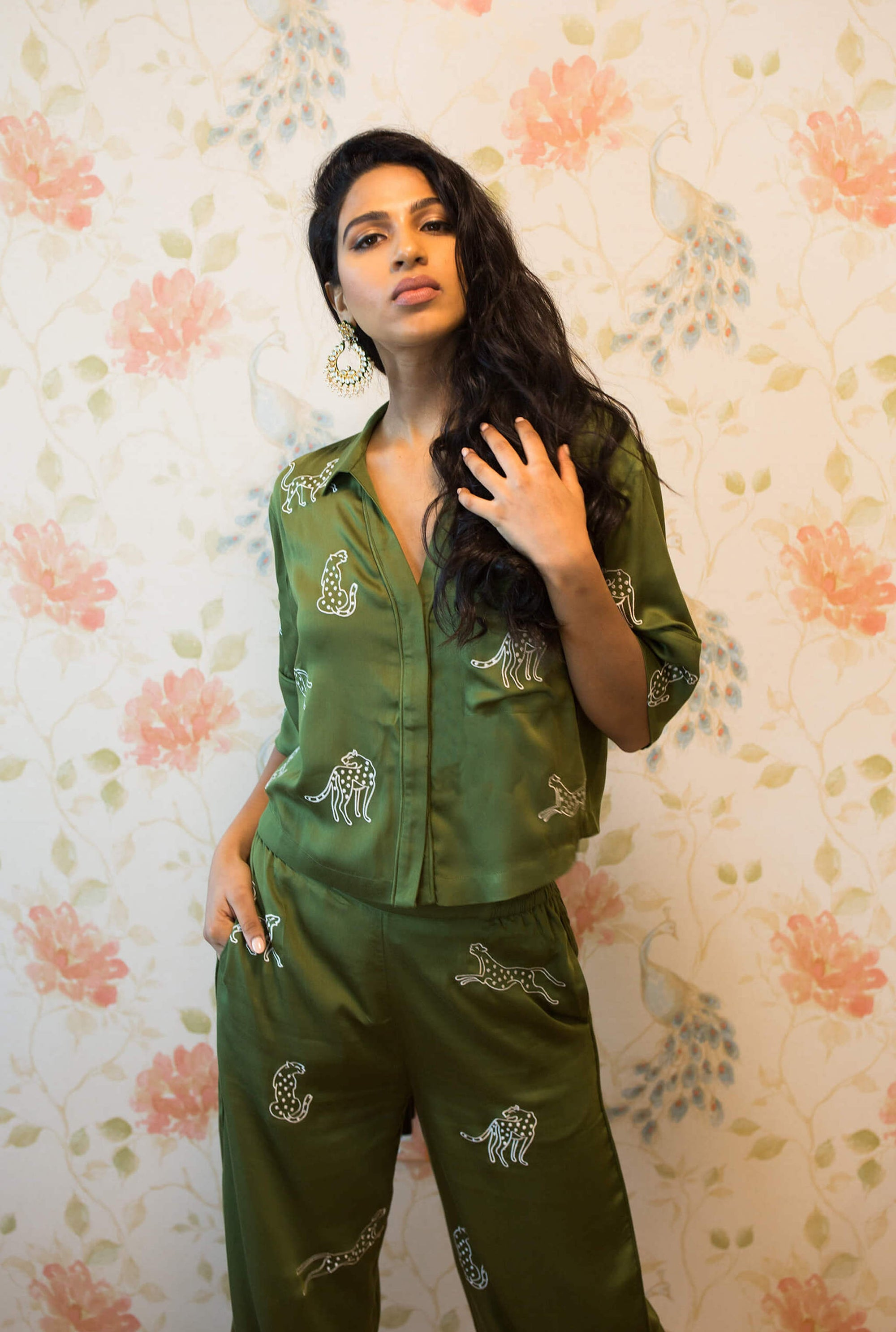 Green leopard embroidery pant and top pajama or loungewear set