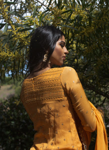 Orange palazzo pant with orange kurta top