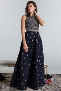 Navy and gold anarkali with dupatta