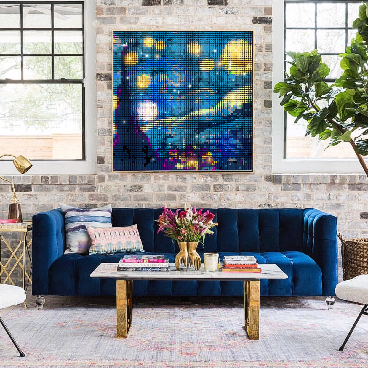 Starry Night Sequin Pixel Wall Art by Pix Perfect