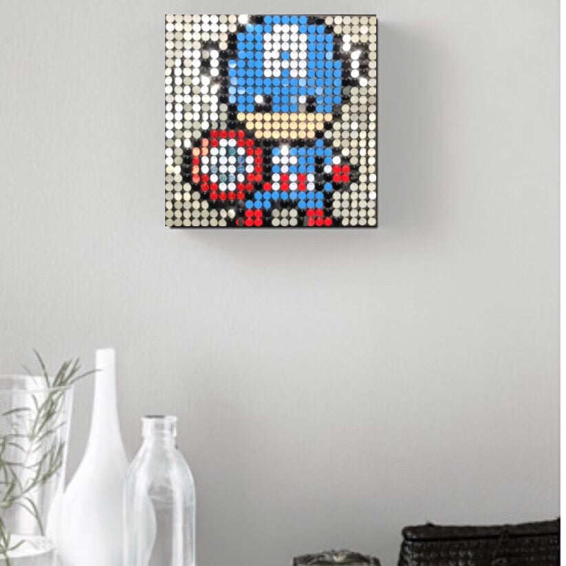 Captain America Pixel Wall Art by Pix Perfect