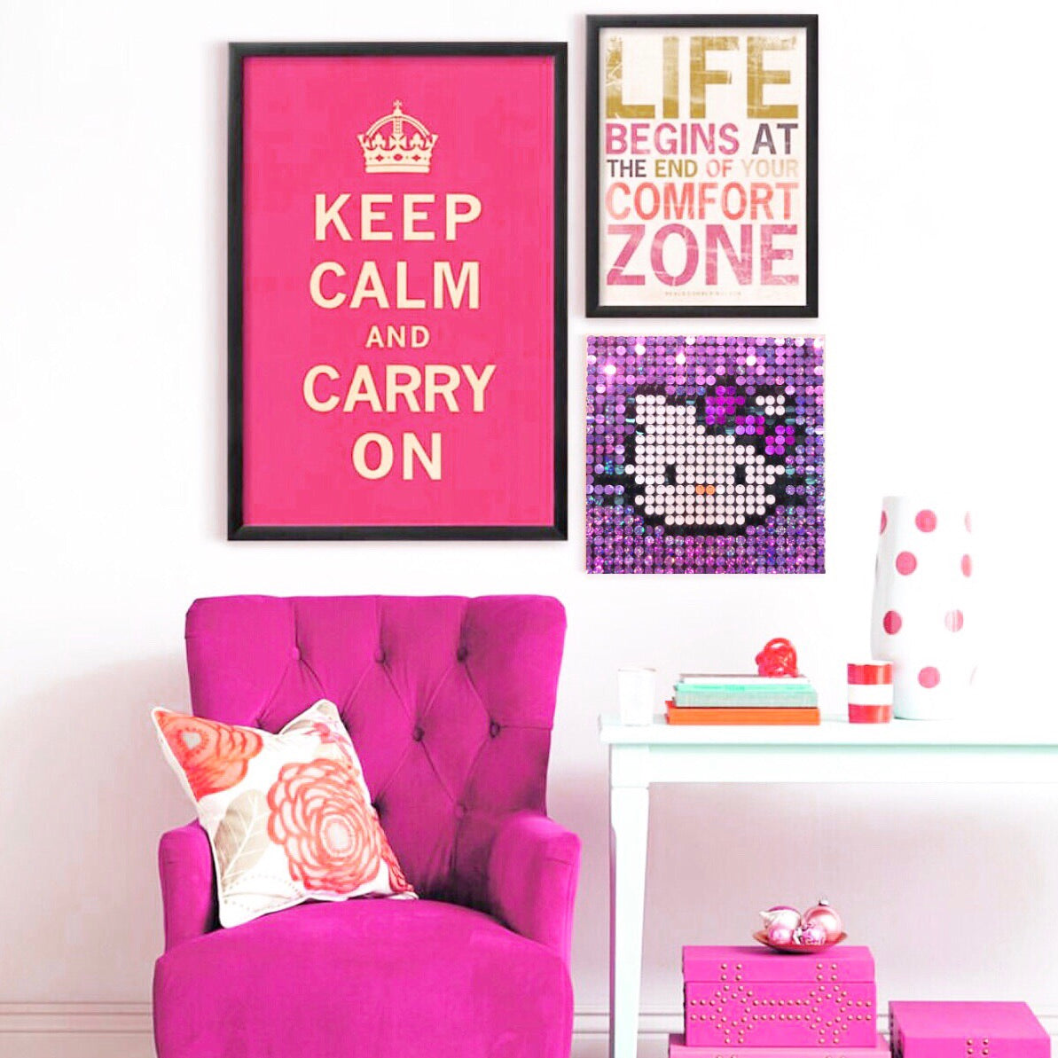 Hello Kitty Pixel Wall Art by Pix Perfect