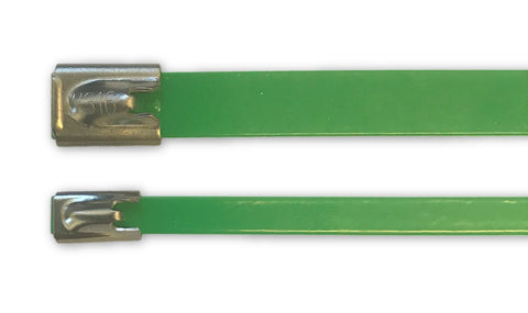 Stainless coated cable tie 316 7.9mm x 200mm GREEN