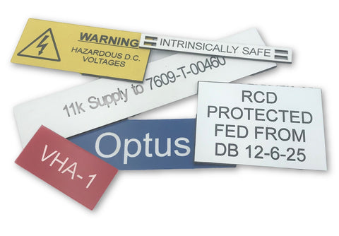 Bespoke Rowmark Traffolyte labels and Tags