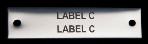 Stainless label 70mm x 18mm x 1.5mm 2 holes TYPE C