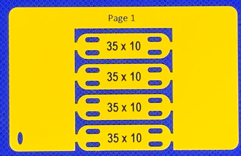 Slotted tag 35mm x 10mm x 4 yellow