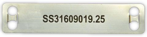 Stainless cable tag printed 90 x 19 x .25mm and .5mm thick