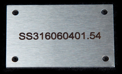 Stainless label 60mm x 40mm x 1.5mm 4 holes