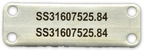 Stainless cable tag printed 75 x 25 x .8mm thick 4.6mm slot