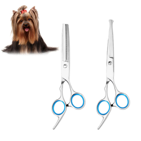 2pcs Sharp and Strong Stainless Steel Blade Dog Cat Grooming Scissors Pet Grooming Kit - groomin101