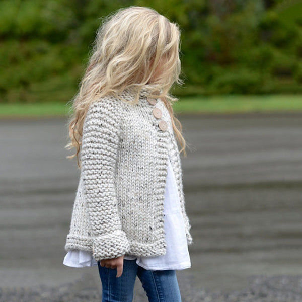 Toddler Kids Baby Girls Outfit Clothes Button Knitted Sweater Cardigan Coat Tops - groomin101