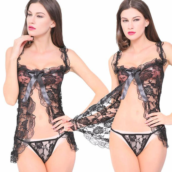 Mesh Robe Sexy Dress Babydoll Nightdress - groomin101