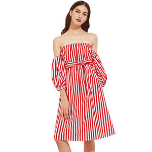 Womens Autumn Dress Three Quarter Red White Striped Sexy Off Shoulder Ladies Knee-Length Casual With Belt vestidos - groomin101
