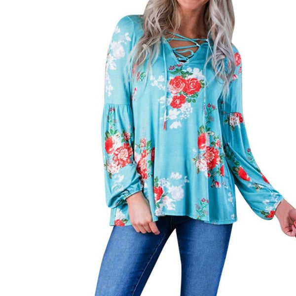 Women  Long Sleeve Floral Printing Shirt Casual Blouse Tops Sexy V-Neck Cotton - groomin101