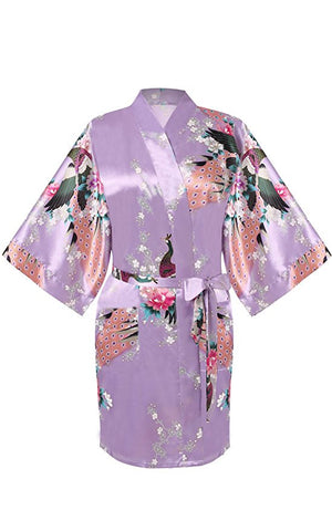 One Piece Nightgown Peacock Flowers Patterned Summer Nightwear Sleepwear Night Robe for Women - groomin101