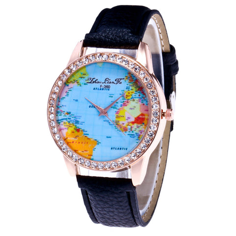 World Map Round Case Wrist Watch - groomin101